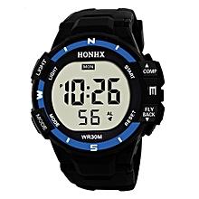 HONHX Africashop Watch  Luxury Men Analog Digital Military Army Sport LED Waterproof Wrist Watch-Blue