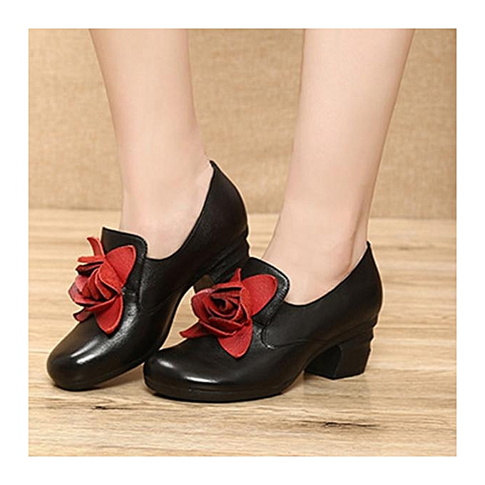7f7ec30baf97 ... SOCOFY Fashion Retro Handmade Rose Pattern Leather Mid Heel Women Pumps  Shoes-EU ...