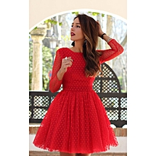 Bright Ladies Dresses Vestidos-Red
