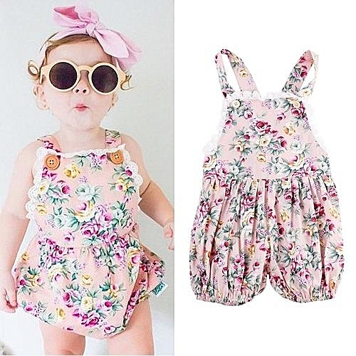 033fb9ec2 UNIVERSAL Baby Girl Romper Floral Print Button Sling Briefs Bodysuit ...