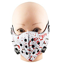 Hip Mall® Halloween Cosplay Punk Rock Rivet PU Leather Face Mask Costume Mouth Muffle (White)