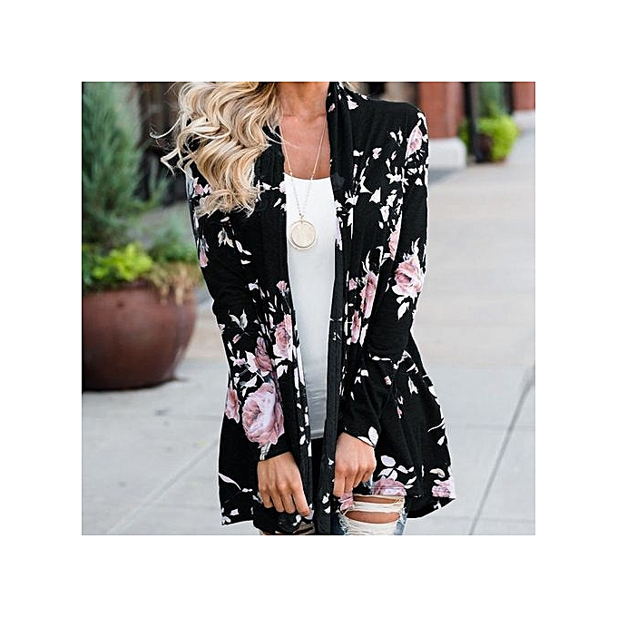 f900bdddbf Women Ladies Floral Jacket Open Front Kimono Overcoat Casual Cardigan BK L