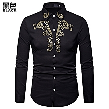 Men Shirt Fashion Long Sleeve Shirt New Palace Style Embroidery Slim Fit Male Shirts Turn-Down Collar Shirt Casual Shirt- black