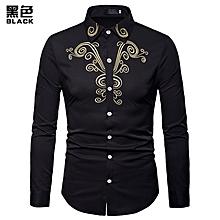 Men Shirt Fashion Long Sleeve Shirt New Palace Style Embroidery Slim Fit Male Shirts Turn-Down Collar Shirt Casual Shirt- black