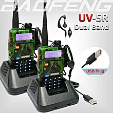 2 x Baofeng UV-5R UV 5R UV5R Walkie Talkie Dual Band Two Way Radio + Free PTT Earpiece