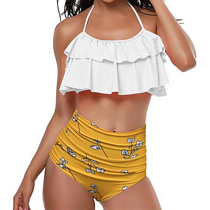 8bb3ec42bb414 huskspo Women Retro Flounce High Waisted Bikini Halter Neck Bikini Two  Piece Swimsuit -Yellow