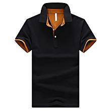 Men's Polo Shirt Summer Short-sleeved Polo Shirt Breathable Casual Cotton Polos Shirt Male Slim Edition Polo-black orange