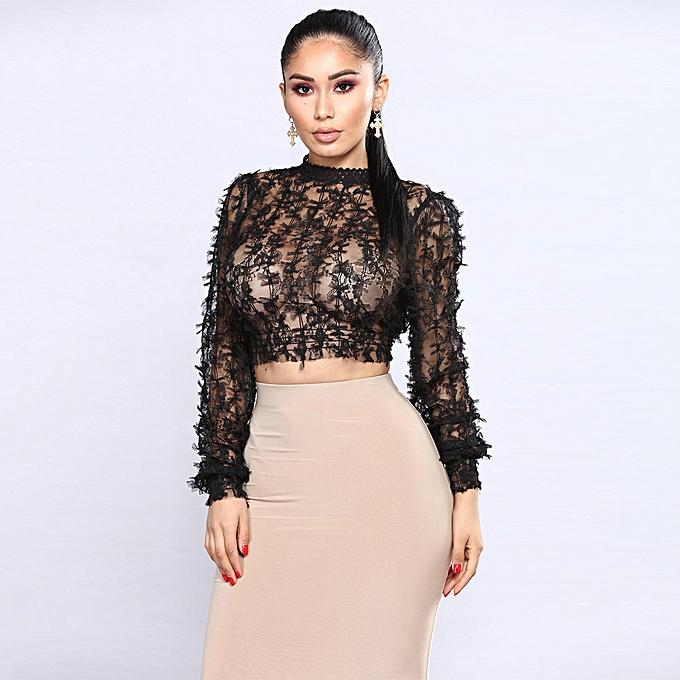 71408fba6fb8 Sexy Women Sheer Lace Crop Top High Neck Long Sleeve Mesh Slim Blouse T- Shirt