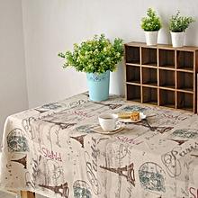 Paris Eiffel Tower Pattern Coffee Cotton Linen Tableware Mat Table Runner Tablecloth Desk Cover 140*140cm