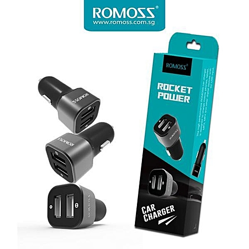 ROMOSS AM12 Rocket Power  Dual USB Intelligent Car Charger For All Smartphone FCJMALL