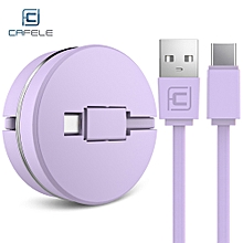 Circular Cover Stretchable Type-C Data Charging Cable 1M - Purple