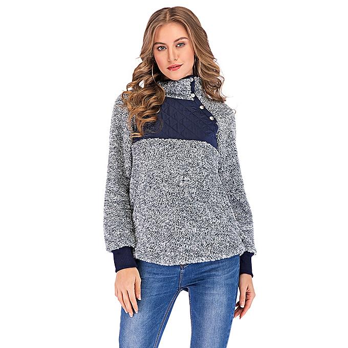 d666e917 Women Fleece Sweatshirt High Neck Long Sleeve Button Casual Warm Pullover  Top White/Dark Blue