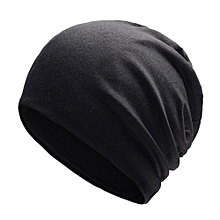 Unisex Stylish Knitted Cotton Cap Solid Color Warm Beanie Prevent Cold Wind Hat For Winter Autumn Color:black