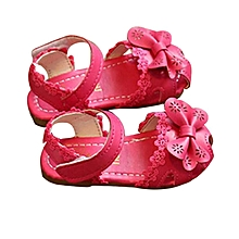 Open Dark Pink Soft Leather Girls Sandals with Lace finish