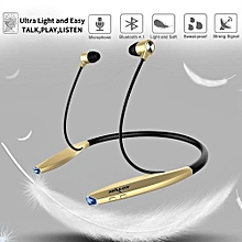 H7 Bluetooth Headphones with Magnet Attraction Wireless Headset Neckband Sweatproof Earbuds with Microphone for Sports - Black Gold
