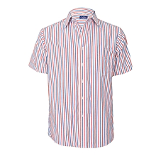 White With Blue & Red Striped Short Sleeved Shirt