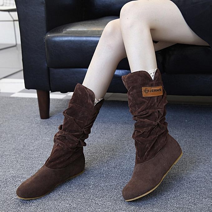 004e64eb92b Xiuxingzi Woman knee High Boots Flat Heel Nubuck Motorcycle Boot Autumn  Winter Shoes CO/42