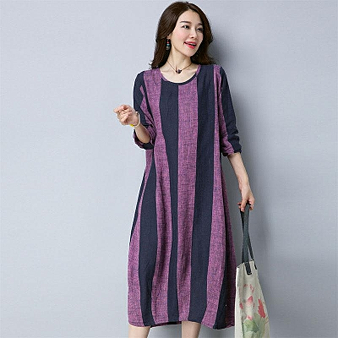 1f53d3f756e8 ZANZEA Women A-Line Flare Cotton Kaftan Striped Plus Size Long Midi Dress  Purple