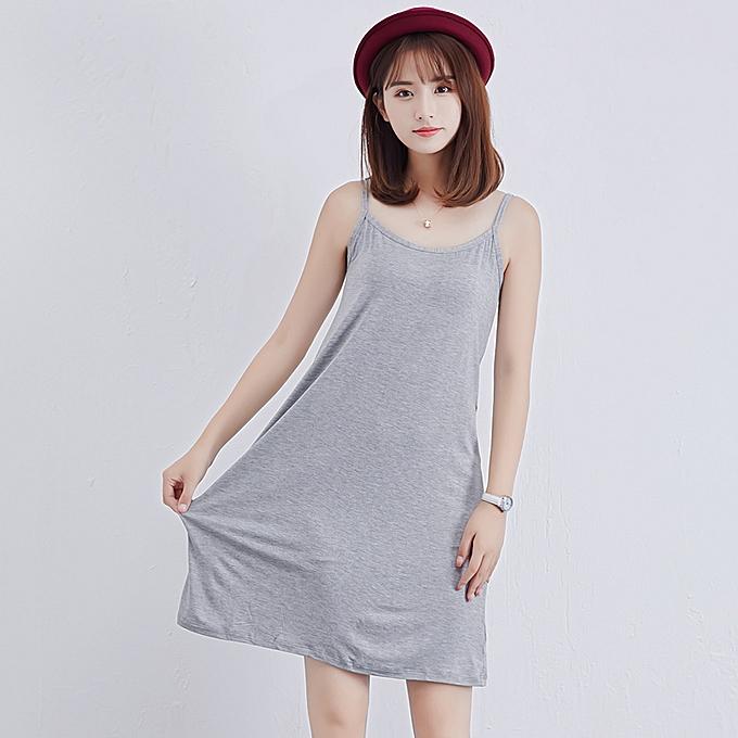 Generic Fashion Women Modal Slip Dress Spaghetti Straps Sleeveless Soft  Stretchy Casual Cami Dress 0ad37f08f