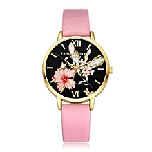 Technologg Watch  Women Fashion Leather Band Analog Quartz Round Wrist Watch Watches Pink-Pink