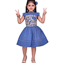Capped Sleeves Blue Cotton Dress with Gold Embroidery