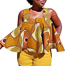 Generic Women African Print Sleeveless Tops Strapless Blouse T Shirt A1