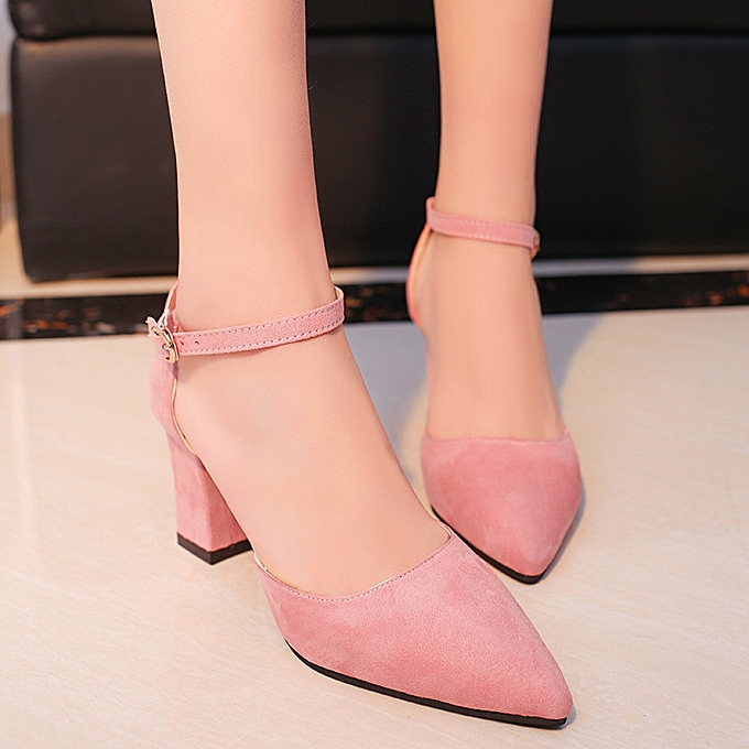 93b56f4e56b Women Suede Ankle Strap Block High Heels Pointed Toe Ladies Simple Pumps  Shoes