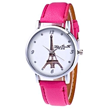 Lady  Leather Wrist Watch Zhoulianfa Fashion Ladies Leisure Artificial Leather Quartz Simulation Watch- Hot Pink