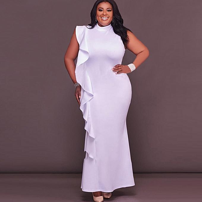 456a6cae8b5 Sexy Women Dress Plus Size Ruffle Side Stand Collar Sleeveless Bodycon Mini  Dress Oversize Party Clubwear ...