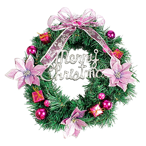 MUYI DIY Merry Christmas Wreath 40cm Garland Window Door Decorations Bowknot Ornament