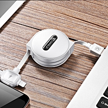 3-in-1 Lightning / Micro USB / Type-C Charging Data Cable With Cable Organizer Storage Case 1.5m White