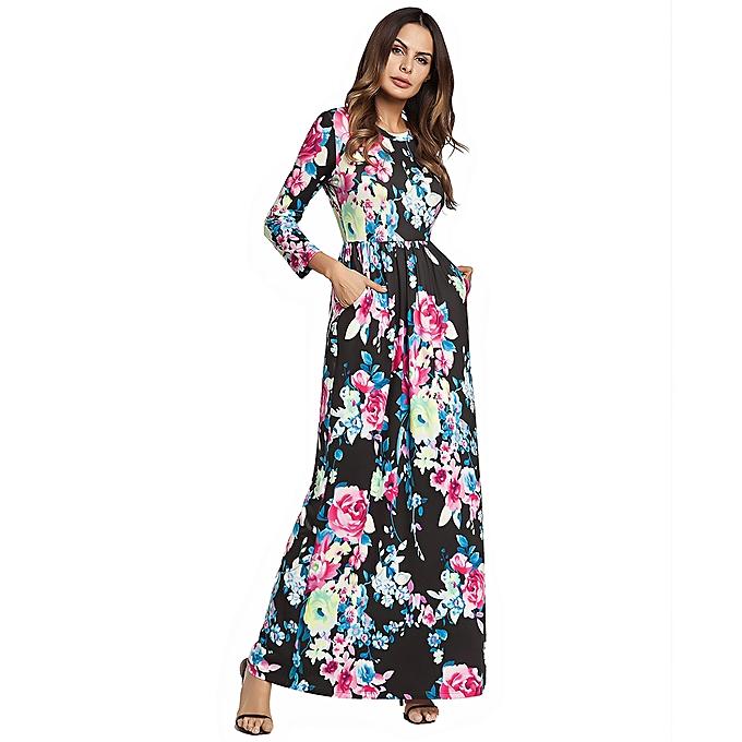 c6ef8802e71 Spring And Summer Women Dress Flower Printed 3 4 Sleeve Long Maxi Dress  Black