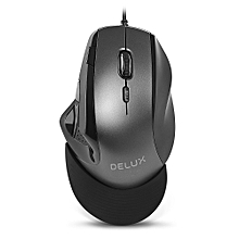 Delux M910BU Wired Optical Mouse Adjustable DPI for Office Game - BLACK
