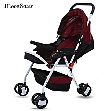 Unisex Foldable Baby Stroller  - Wine Red
