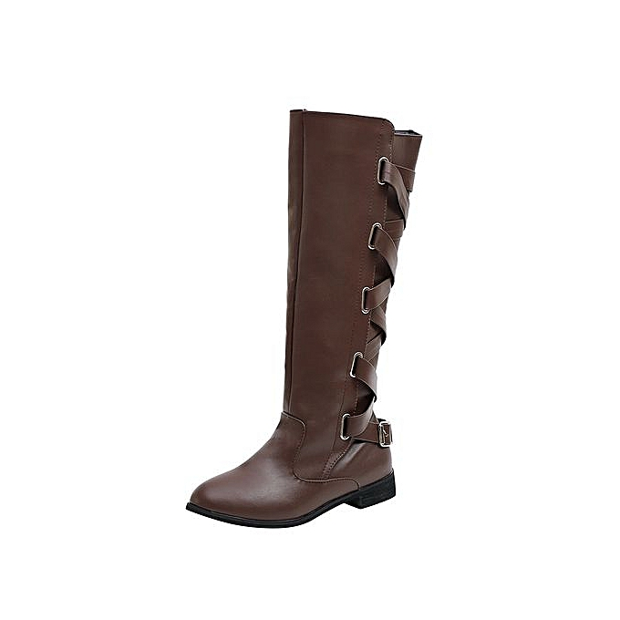 882012be476 Jiahsyc Store Women Ladies Shoes Buckle Roman Riding Knee High Cowboy Boots  Martin Long Boots-Coffee