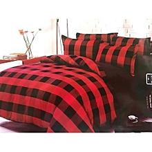 Black Red Checkered Duvet,4pc
