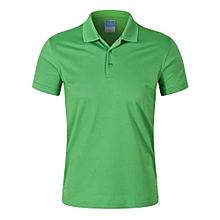 Pure Color Fashion Casual Men's Summer B Short Sleeves Polo Shirts-Green