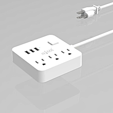 INSMA Power Strip 3 in 1 USB Charging Ports Sockets Adapter White