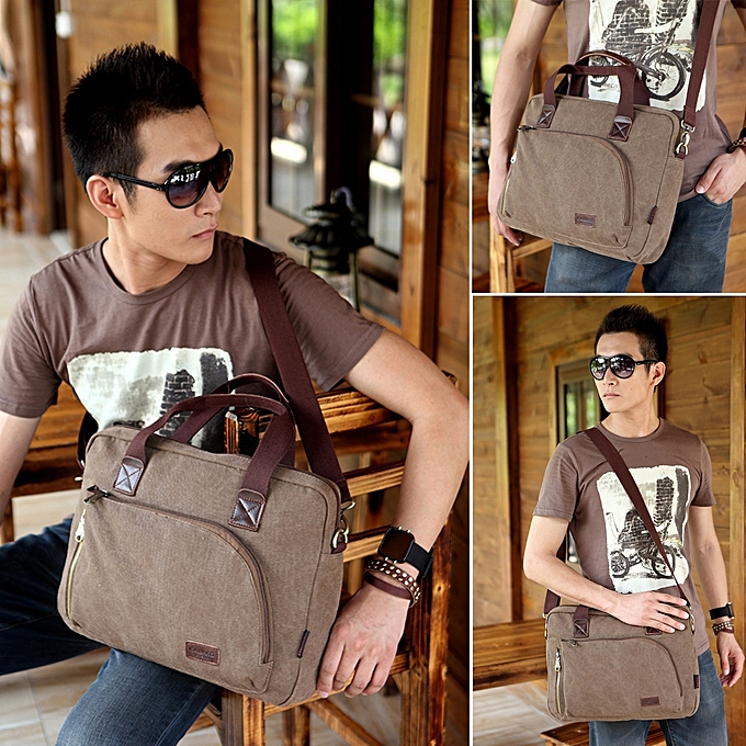 ... KAUKKO FJ24 Fashion WalkingZone 13-14 inch Canvas Briefcase Laptop  Tablet Notebook Bag Crossbody Bag 65b259984af86
