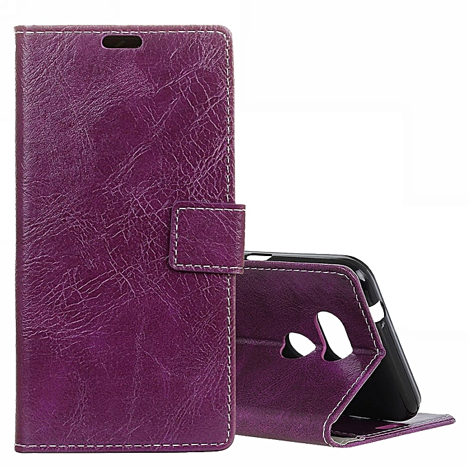 buy online 3be1a 4fa2f Retro Crazy Horse Texture Horizontal Flip Leather Case for HTC Desire 12S  (Purple)