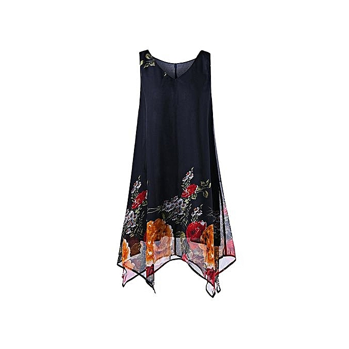 50f2a31156dfa Nextmia Plus Size V Neck Floral Handkerchief Dress   Best Price ...