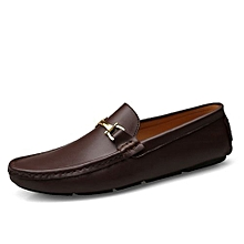 Men Loafers Breathable Genuine Leather Casual Shoes Moccasins (Brown)