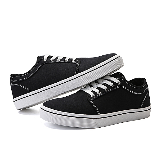 80e2a79463a3 Generic Mens Lace up Skate Shoes Low Top Canvas Stitching Breathable ...