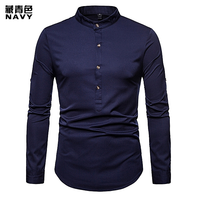 d9d8adfd695 Fashion Men Shirt Hot Sales Solid colour Henry With Large Size Brand Shirt  Long-Sleeve Shirt Casual Slim Fit Male Shirts-blue