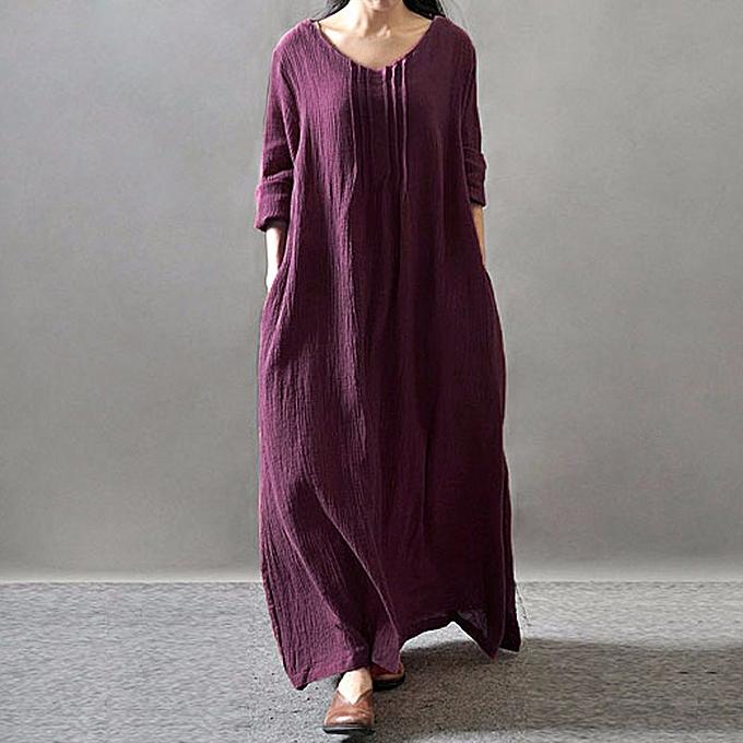 131640b63580 Autumn Women Casual Loose Dress Solid V Neck Long Sleeve Cotton Retro Boho  Long Maxi Dress
