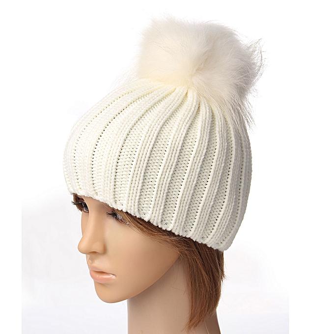 17d1eee3 18cm Pom Boys Girls Children Winter Knit Beanie Ski Cap Bobble Faux Fur  Ball Hat
