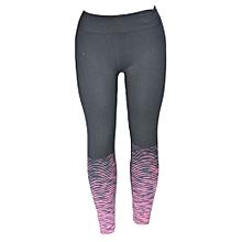 Grey/Pink Striped Gym Leggings
