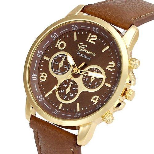 Fovibery Unisex Casual Geneva Faux Leather Quartz Analog Wrist Watch Watches