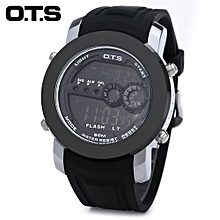 Men Sport Watch Dual Sub-dials Rubber Strap Wristwatch-SILVER AND BLACK