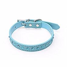 Small Pet Dog Leather Collar Puppy Cat Blue Rhinestone Neck Strap BU/M